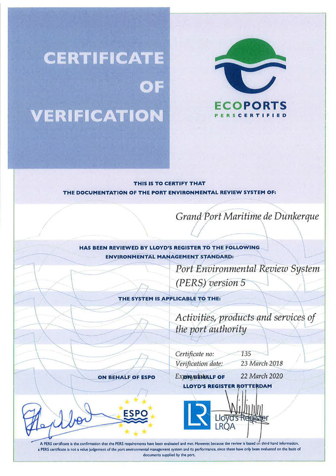 Certificat PERS